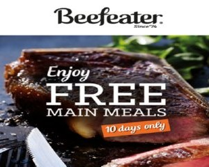 Free Main meals at Beefeater Restaurants